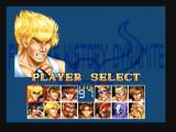 Fighter's History Dynamite Zeebo Character selection screen.