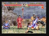 Fighter's History Dynamite Zeebo The background changes on second and third rounds, here we see rain. Lee hits Misogushi with a Senkyuu Tai.