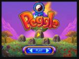 Peggle Zeebo Title screen and main menu. The Peggle Master ribbon above the title means I've already completed the adventure mode.