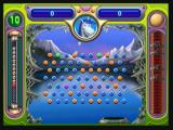 Peggle Zeebo Starting a new game. You must aim the ball and shoot. Pegs hit are lightened and then disappear. The object is to remove all orange pegs.
