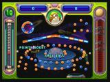 Peggle Zeebo Playing a Challenge Level. In this one I have to remove 55 orange pegs instead of the normal amount. With 2 extra balls from Jimmy Lightning's power it should be easier.