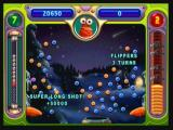 "Peggle Zeebo Playing a Quick Play level. When hitting a peg after bouncing on another one far from it, you get bonus points like this ""Super Long Shot""."
