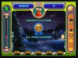 Peggle Zeebo Clearing all pegs also gives you a ribbon. Clearing 100% pegs in all levels awards you a trophy.