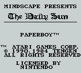 Paperboy Game Boy title
