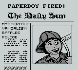 Paperboy Game Boy game over