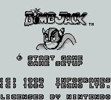 Bomb Jack Game Boy title