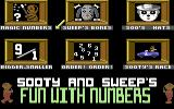 Sooty's Fun With Numbers Commodore 64 Main Menu.