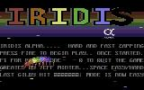 Iridis Alpha Commodore 64 Title Screen.