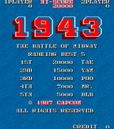 1943: The Battle of Midway Arcade Title Screen.