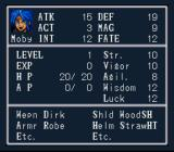 Breath of Fire SNES Statistics screen