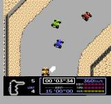 Famicom Grand Prix: F1 Race NES First bend on a desert course.
