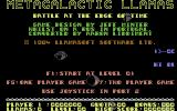 Metagalactic Llamas: Battle at the Edge of Time  Commodore 64 Title Screen.