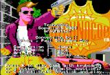 Techno Cop Apple II The Title screen with an impostor cop and conversion credits scrolling over him