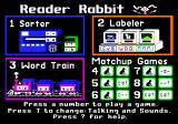 Reader Rabbit Apple IIgs Apple IIgs version 2.3 main menu.