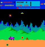 Moon Patrol Arcade Check point B and rock obstacle