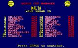 World Cup Soccer Amstrad CPC Your Squad.