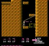 Arumana no Kiseki NES Dodging a javelin in a vertical passage.
