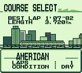 F1 Pole Position Game Boy Course select (there are 17).