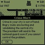 SimCity Palm OS A crime wave at hand