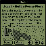 SimCity Palm OS The game starts with a simple tutorial