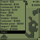 SimCity Palm OS Choose what to build
