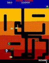 Dig Dug Arcade Dumping the stone on the monster
