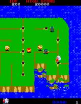 Dig Dug II: Trouble in Paradise Arcade Island is collapsing