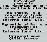 Pyramids of Ra Game Boy credits