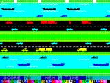 Jogger ZX Spectrum Almost off the road – the jogger is red here to avoid colour clash problems