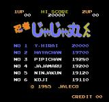 Ninja Jajamaru-kun Arcade Highscores with (probably) names of developers