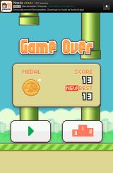 Flappy Bird Android Result of the run. The game is free but contains ads.