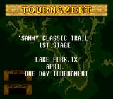 Jimmy Houston's Bass Tournament U.S.A. SNES The 1st stage of the Tournament