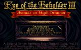 Eye of the Beholder III: Assault on Myth Drannor DOS Main menu