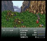 Final Fantasy III SNES A regular battle with a nice background