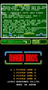 Mario Bros. Arcade Title screen (Nintendo PlayChoice-10)