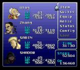 Final Fantasy III SNES Main menu