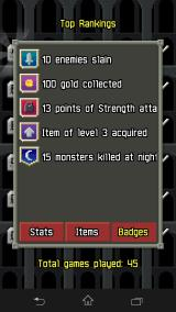 Pixel Dungeon Android ... and here were his illustrious achievements.