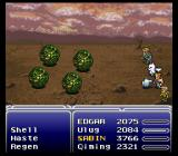 Final Fantasy III SNES Battle aginst strange green things