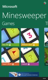 Microsoft Minesweeper Windows Phone Main menu