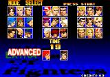 The King of Fighters '97 Arcade Player select