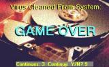Virus: The Game - Shareware Windows The small Game Over window overlays the game area and gives the player ten seconds to play again