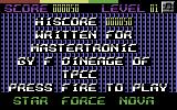 Starforce Nova Commodore 64 Title Screen.