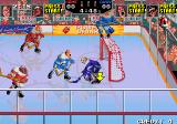 Hit the Ice: The Video Hockey League Arcade Goal-Mouth action.