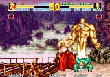 Fatal Fury Special Arcade Tung Fu Rue buffing himself up, Geese Howard feeling the pain