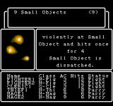 Wizardry: Proving Grounds of the Mad Overlord NES Middle of a battle against small objects.