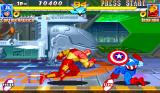 Marvel Super Heroes Arcade Defending an attack.