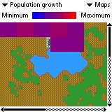 SimCity Palm OS (colour) Map of population growth