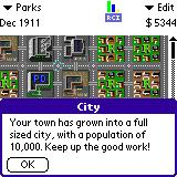 SimCity Palm OS (colour) Your town has grown to a full sized city