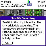 SimCity Palm OS (colour) Traffic is out of control