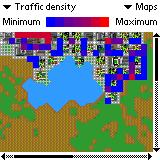 SimCity Palm OS (colour) Map overview of traffic